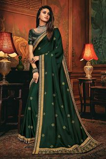 Picture of Vibrancy Green Colored Designer Saree