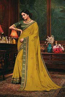 Picture of Vibrant Mustard Colored Designer Saree