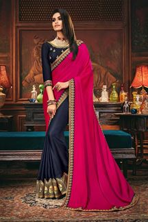 Picture of Stunning Pink & Blue Colored Designer Saree