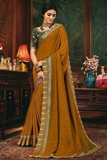 Picture of Mustard Colored Designer Party Wear Saree