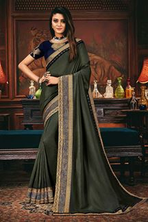 Picture of Steel Green Colored Designer Party Wear Saree