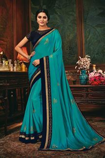 Picture of Sky Blue Colored Designer Party Wear Saree