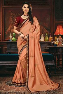 Picture of Peach Colored Designer Party Wear Saree