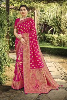 Picture of Intricate Pink Colored Festive Wear Silk Saree With Tassels