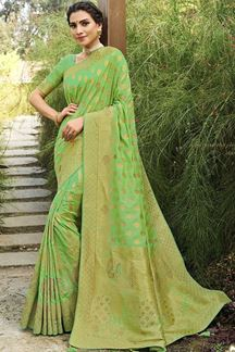 Picture of Perrot Green Colored Festive Wear Silk Saree With Tassels
