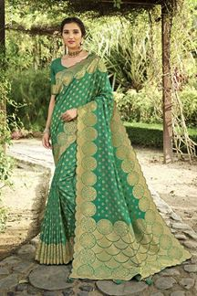Picture of Green Colored Festive Wear Silk Saree With Tassels