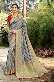 Picture of Grey Colored Festive Wear Silk Saree With Tassels