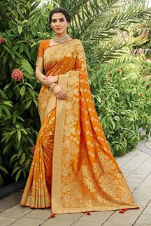 Picture of Orange Colored Festive Wear Silk Saree With Tassels