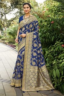 Picture of Blue Colored Festive Wear Silk Saree With Tassels
