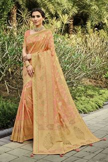 Picture of Peach Colored Festive Wear Silk Saree With Tassels