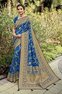 Picture of Exotic Blue Colored Festive Wear Silk Saree With Tassels