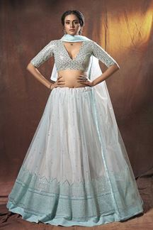 Picture of Delightful Light Blue Colored Designer Lehenga Choli
