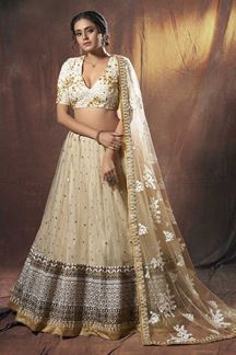 Picture of Contemporary Beige Colored Lehenga Choli
