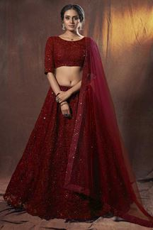 Picture of Glorious Maroon Colored Designer Lehenga Choli Set