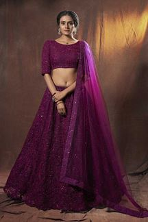 Picture of Lively Wine Colored Designer Lehenga Choli Set