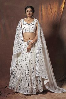 Picture of Heavenly White Colored Designer Lehenga Choli