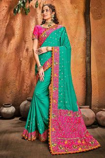 Picture of Wedding Wear Designer Rama Green Colored Embroidery Saree