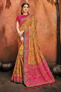 Picture of Yellow Colored Wedding Wear Designer Embroidery Saree