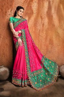 Picture of Wedding Wear Designer Pink Colored Embroidery Saree