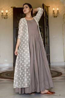 Picture of Partywear Designer Printed  Grey Colored Kurti
