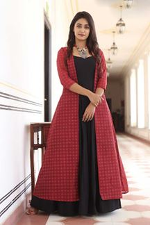 Picture of Partywear Designer Printed Black Colored Kurti