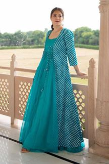 Picture of Partywear Designer Printed Sky Blue Georgette Kurti