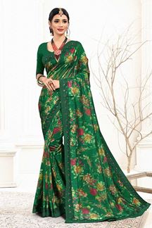 Picture of Green Colored Organza Digital Print Saree