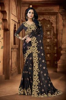 Picture of Black Colored Embroidery Designer Satin Saree