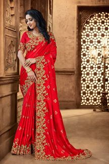 Picture of Red Colored Embroidery Designer Satin Saree