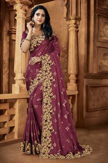 Picture of Onion Pink Colored Embroidery Designer Satin Saree