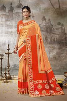 Picture of Trendy Orange Colored Festive Wear Silk Saree
