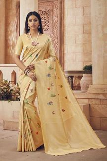 Picture of Attractive Cream Colored Festive Wear Silk Saree