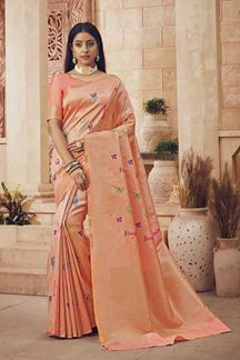 Picture of Attractive Peach Colored Festive Wear Silk Saree