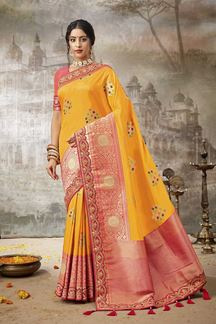 Picture of Stunning Yellow & Pink Colored Festive Wear Silk Saree
