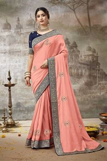 Picture of Innovative Peach Colored Partywear Silk Saree