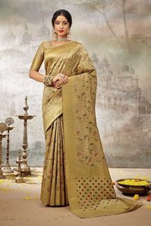 Picture of Imposing Golden Colored Partywear  Silk Saree