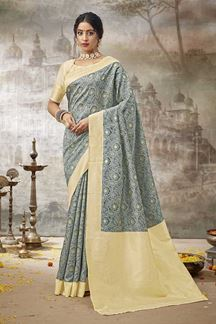 Picture of Amazing Grey Colored Printed Silk Saree
