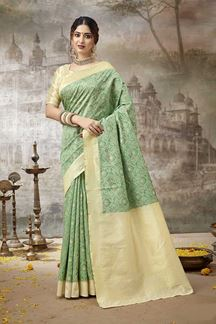 Picture of Amazing Green Colored Printed Silk Saree