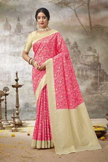 Picture of Amazing Pink Colored Printed Silk Saree