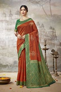 Picture of Blissful Orange & Green Colored Festive Wear Silk Saree