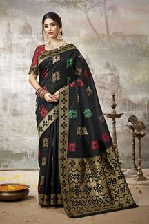 Picture of Intricate Black Colored Festive Wear Silk Saree
