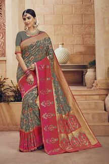 Picture of Traditional Grey & Pink Colored Art Silk Saree