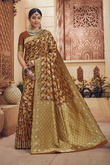 Picture of Radiant Brown Colored Festive Wear Art Silk Saree