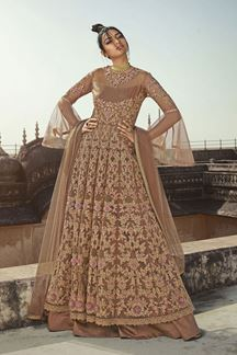 Picture of Designer Party Wear Chiku Colored Indo Western Suit (Unstitched suit)