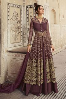 Picture of Designer Party Wear Wine Colored Indo Western Suit (Unstitched suit)