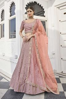 Picture of Rose Pink Colored Designer Wedding Wear Silk Lehenga Choli