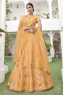 Picture of Yellow Colored Designer Wedding Wear Silk Lehenga Choli