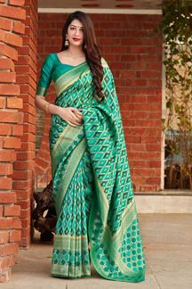 Picture of Green Colored Designer Traditional Wear Banarasi Silk Saree