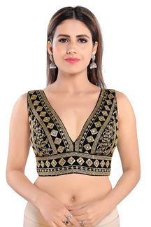 Picture of Black Colored Trendy Readymade Designer Blouse