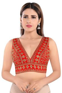 Picture of Red Colored Trendy Readymade Designer Blouse